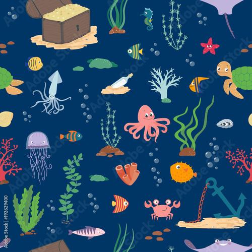 Underwater life. Cartoon seamless pattern