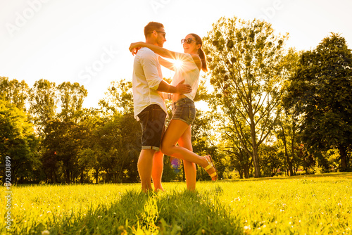 Nice young couple in the park