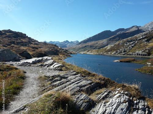Fotobehang Blauw Tessin Schweiz