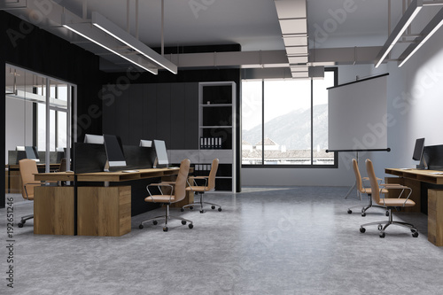 Black wall open space office corner, screen