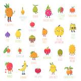 Cute cartoon live exotic fruits vector set. - 192654657