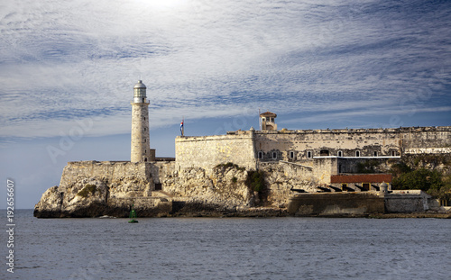 In de dag Havana Lighthouse in Morro Castle, fortress guarding the entrance to Havana bay, a symbol of Havana, Cuba
