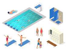 Isometric   Swimming Pool Swimmers Showers In The Gym Locker And Changing Room Elements Icons Health Lifestyle Sticker