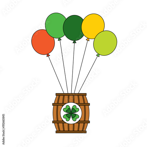 wooden barrel of beer with bunch balloons ornament vector illustration