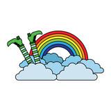 leg of leprechaun rainbow clouds magic traditional vector illustration - 192664084