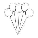 bunch balloons decoration festive birthday vector illustration - 192664257