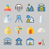Icons about Construction with hotel, school, white house, terrace, washington monument and shopping - 192671074