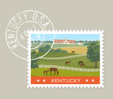 Kentucky postage stamp design. Vector illustration of horses grazing in green fields with stables in background. Grunge postmark on separate layer. - 192675209