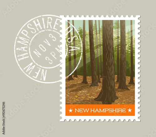 New Hampshire postage stamp design. Vector illustration of deep forest with sun filtering through. Grunge postmark on separate layer.