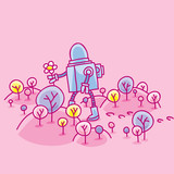 A Cartoon Robot Picking Flowers In A Gentle Pink Springtime Landscape Of Hills And Trees  Blossoms Wall Sticker