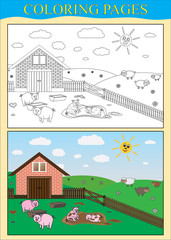 Coloring pages (book). Farm, animal (pigs, sheep)