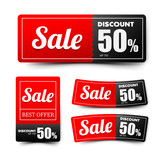 Sale text on red tag banner set 002 - 192682055