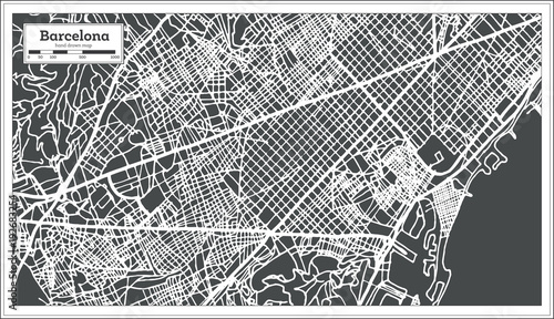 Barcelona Spain City Map in Retro Style. Outline Map.