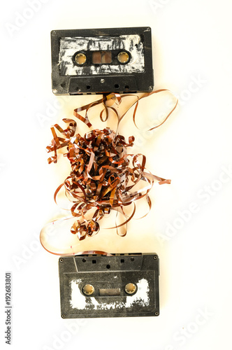 a selection of old audio cassettes - 192683801