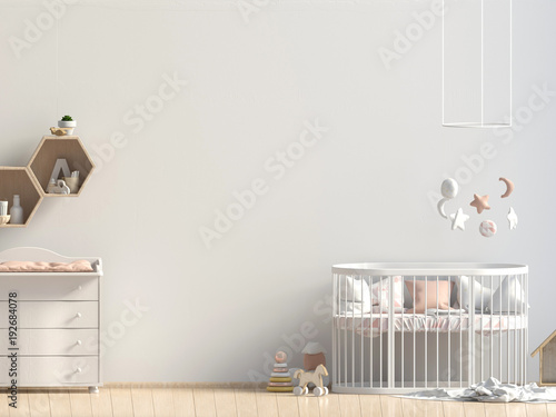 Interior of the childroom. sleeping place. 3d illustration. Mock up wall