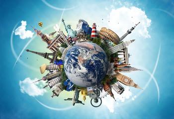 Travel, world landmarks on the background of blue sky