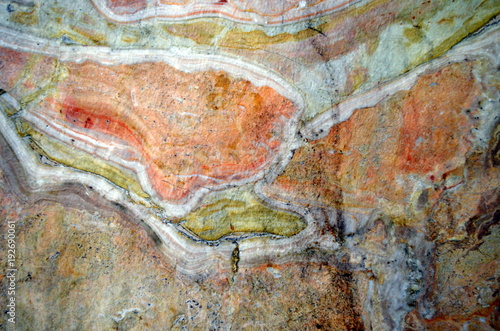 Foto op Canvas Baksteen muur Bunte Natursteinmauer
