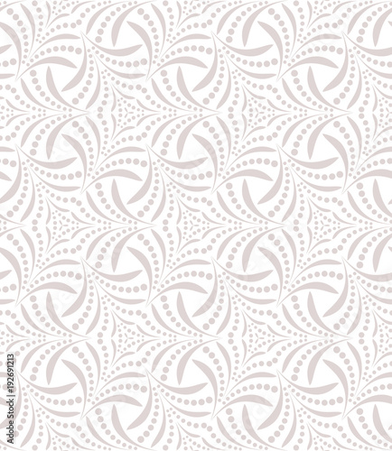 Flower geometric pattern. Seamless vector background. White and grey ornament. - 192691213