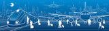 Transport panorama. Passengers get on the train leaving the airplane. Travel transportation infrastructure. Plane is on the runway. Night city on background, vector design art © panimoni