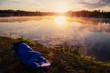 Quadro Epic photography. Fisherman at sunrise sleeping. wonderful morning scene. foggy sunrise on the lake.
