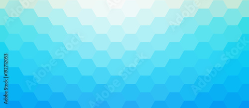 Blue mosaic background, sunny sky hexagonal pattern vector background