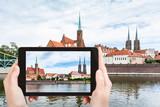 tourist photographs Tumski island in Wroclaw