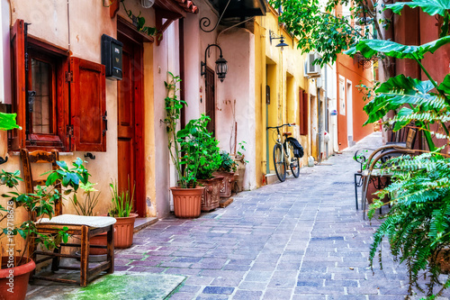 traditioanl colorful narrown streets of Greek town Rethymno, Crete island