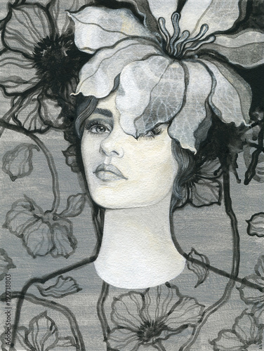 beautiful woman. fashion illustration. watercolor painting - 192718803