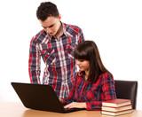 Teenage couple studying together - 192719018