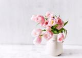 Spring Tulips in a Ceramic Vase - 192719611