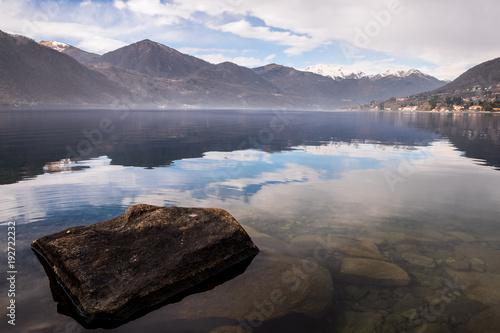 Aluminium Lavendel View of Lago d'Orta, Piedmont, Italy