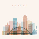 Des moines state Iowa, skyline detailed silhouette. Transparent style. Trendy vector illustration. - 192723081
