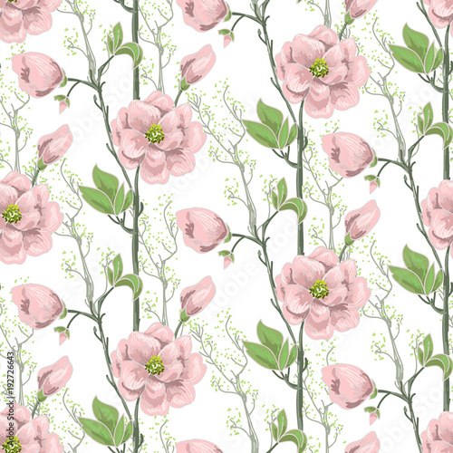 Fototapeta Seamless spring pattern with pink magnolias and green leaves. Delicate flowers in botanical motifs.