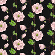 Seamless spring pattern with pink magnolias and green leaves. Delicate flowers in botanical motifs. - 192726894