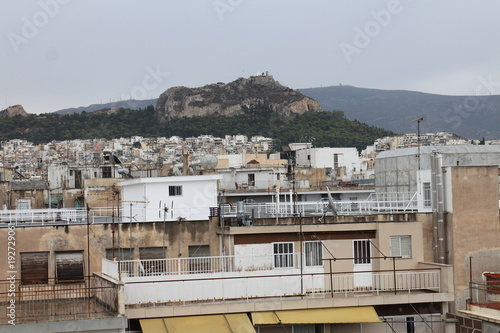 Foto op Aluminium Athene View from hotel´s roof to Likavittos hill, Athens, Greece
