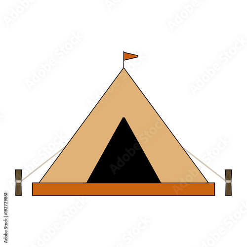 Flat camping tent illustration. Isolated on white