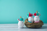 Easter holiday concept with handmade eggs - 192731847