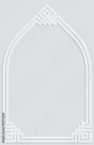 Foto op Plexiglas Abstract wave Islamic white grey frame ornament pattern background