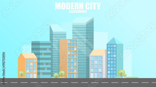 Staande foto Lichtblauw Urban modern city background, vector illustration