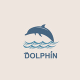 abstract emblem of jumping dolphin and sea wave - 192734221