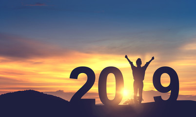 Silhouette freedom young woman Enjoying on the hill and 2019 years while celebrating new year, copy spce.