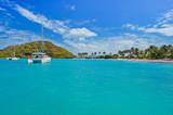 Catamaran on turquoise sea near Mayreau Island, Caribbean Sea - 192743273