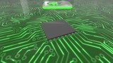 Seamless looping rotating 3d animated dark green computer circuit board with a hard drive icon in 4K resolution - 192749632
