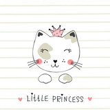 Vector illustration with cute princess cat