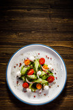 Caprese salad on wooden background - 192750217