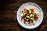 Caprese salad on wooden background - 192750238