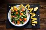 Vegetable salad on wooden background - 192750253