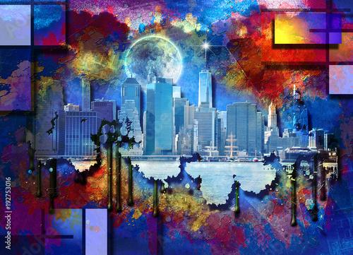 Obraz na Szkle Manhattan Skyline