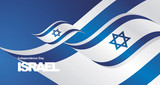 Independence Day Israel flag ribbon landscape background greeting card