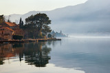Misty Mediterranean landscape.  Montenegro, winter.  View of Bay of Kotor and Dobrota town - 192757231